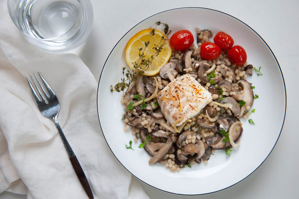 Israeli Couscous and Sautéed Mushrooms with Herbs & Simple Baked Cod, Served