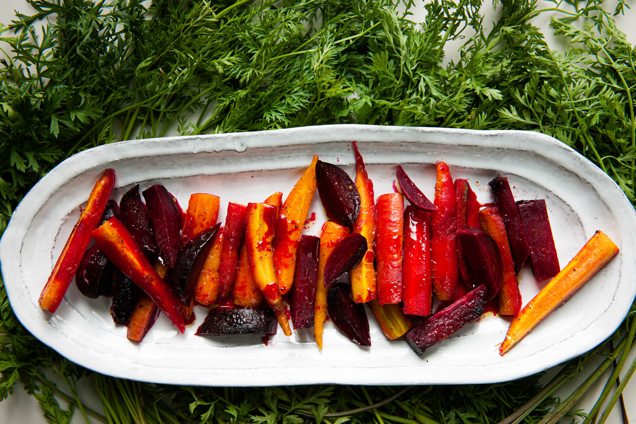 Honey Orange Roasted Beets and Carrots plated image